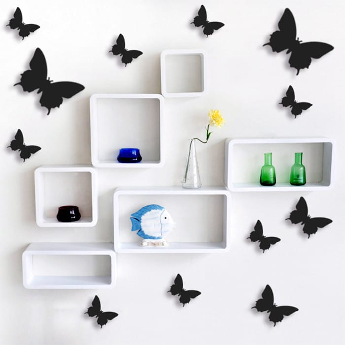 12 pcs lot pvc 3d butterfly wall stickers decals home for Adhesive decoration