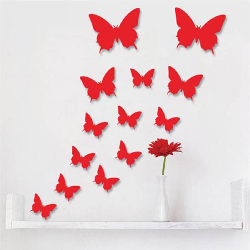 12 pcs lot pvc 3d butterfly wall stickers decals home for 3d wall butterfly decoration