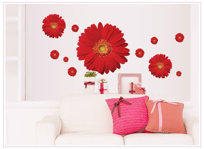 1set zy6015 rdaisy flower living room vinyl 3d wall for Bedroom 3d wall stickers
