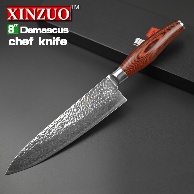 2015 NEW 8 U201d Chef Knife 73 Layers Japanese Damascus Steel Kitchen Knife  Senior Meat/vegetable Knife Wood Handle Free Shipping
