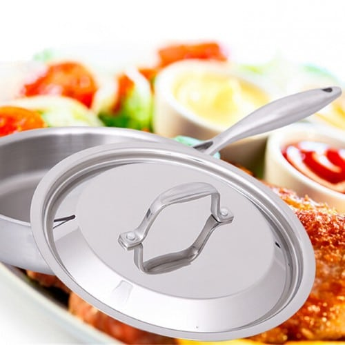 28 Cm High Quality Household Stainless Steel Band Pot Flat Non Stick No Soot Steak And Eggs In A Pan Frying