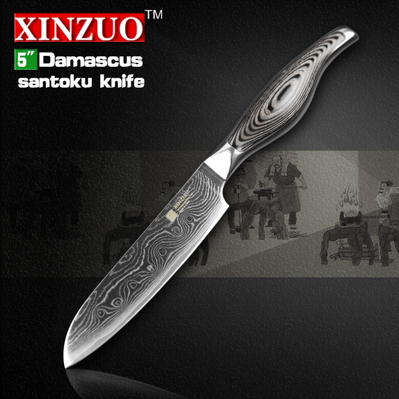 5 inches santoku knife japanese vg10 damascus kitchen knives japanese chef fruit knife forged. Black Bedroom Furniture Sets. Home Design Ideas
