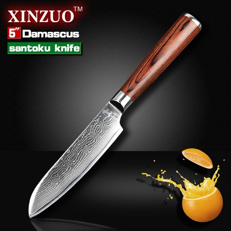 5 santoku knife japanese vg10 damascus stainless steel kitchen knife sharper chef knife with. Black Bedroom Furniture Sets. Home Design Ideas