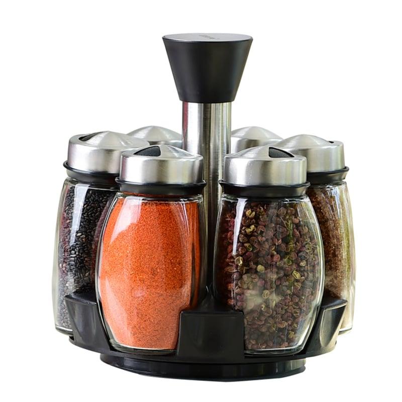 7pcs condiment set pepper and salt cruet glass kitchen spice rack set 6pcs jars 1pc rack - Salt and pepper cruet set ...