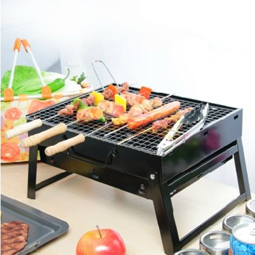 black steel portable charcoal bbq grill folding barbecue grill for outdoor easy to assemble 43 5. Black Bedroom Furniture Sets. Home Design Ideas