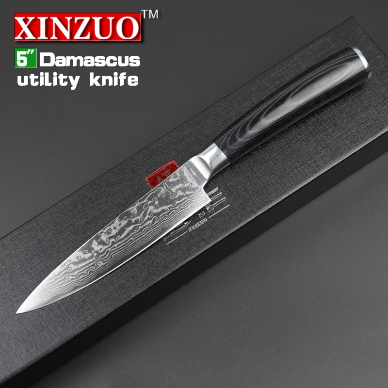 2014 new high quality 5 japanese vg10 damascus steel kitchen knife utility universal knife. Black Bedroom Furniture Sets. Home Design Ideas