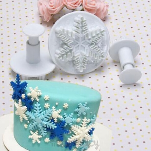 Cupcake Design Kitchen Accessories: New 3Pcs/Set Snowflake Fondant Cake Decorating Tools
