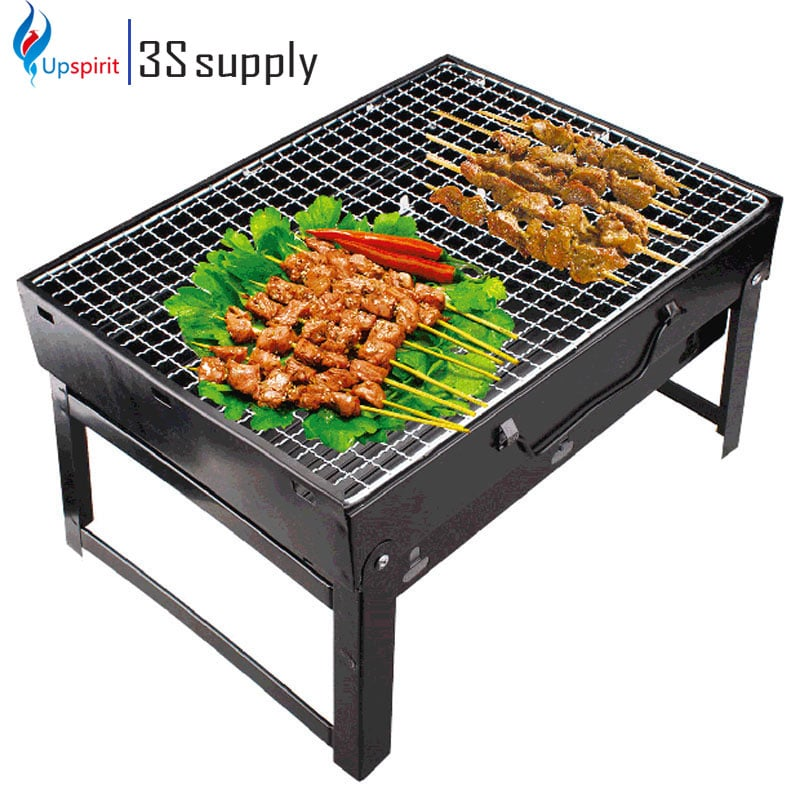 New BBQ Grills 35*27*20cm Folding Outdoor Black Steel Hiking Camping Charcoal Grill Picnic BBQ ...
