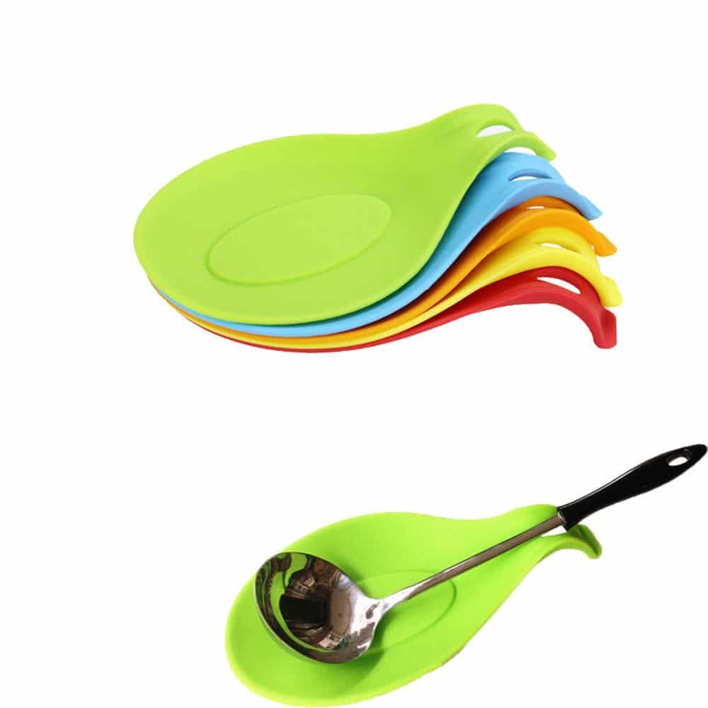 Silicone Spoon Rest Heat Resistant Kitchen Utensil Spatula Holder ...