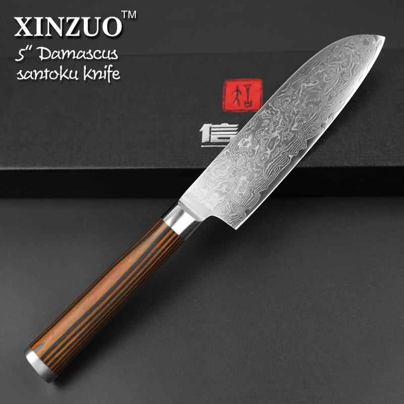 Xinzuo 5 Japanese Chef Knife 73 Layers Vg10 Damascus Steel Kitchen Knife High Quality Santoku