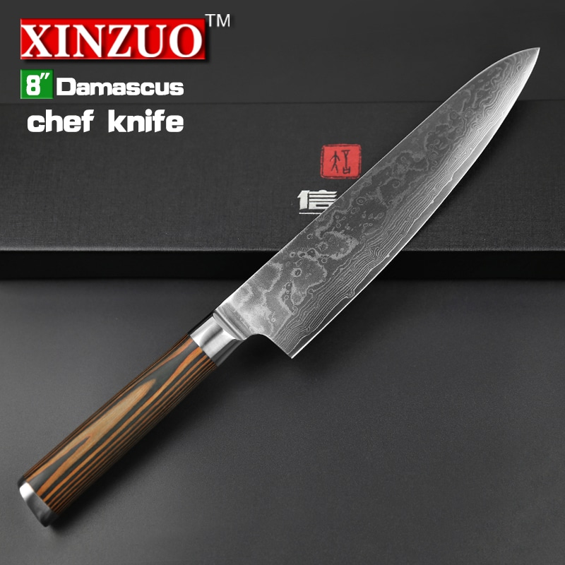 XINZUO 8u2033 Inches Chef Knife Damascus Steel Kitchen Knives High Quality VG10  Santoku Hasher Knife Wood Handle Free Shipping