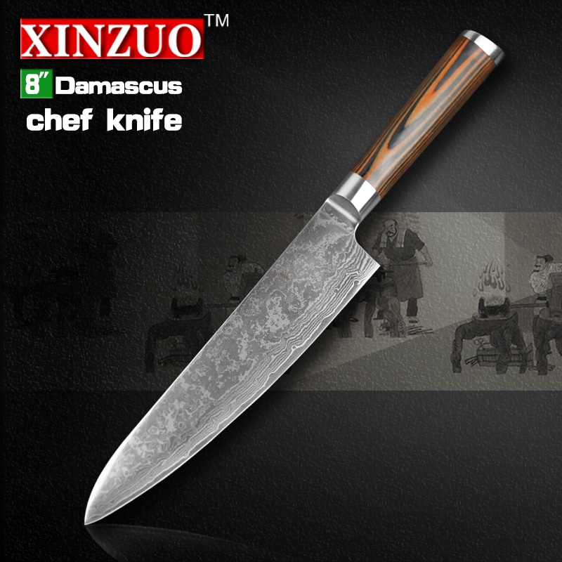 xinzuo 8 inches chef knife damascus steel kitchen knives high quality vg10 santoku hasher knife. Black Bedroom Furniture Sets. Home Design Ideas