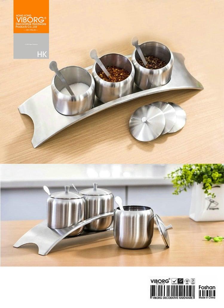 Set Of 4 Viborg 304 Stainless Steel Kitchen E Condiment Salt