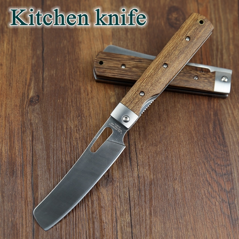 folding kitchen knives 440a pocket folding kitchen chef knife table knife high quality dark tagayasan wood steel guard 1250